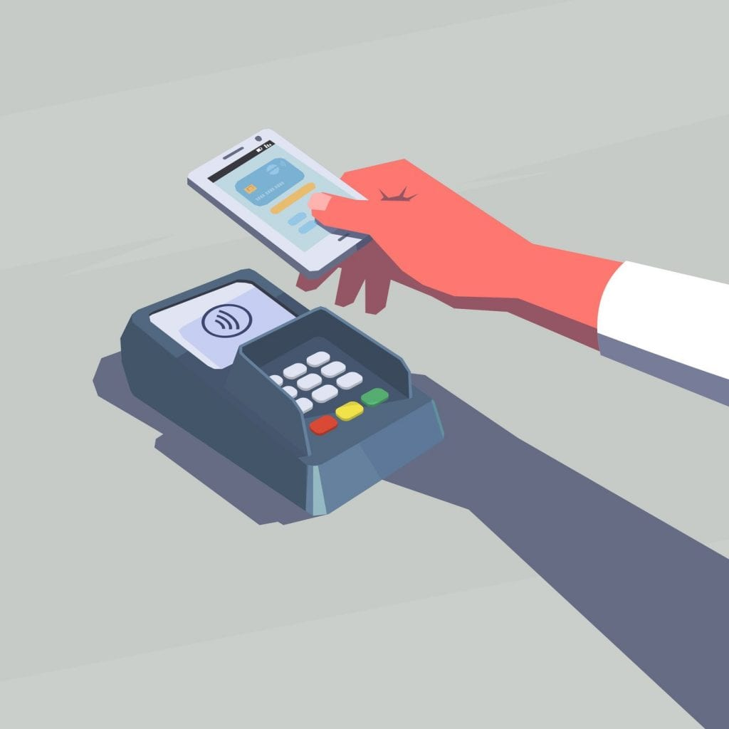 Contactless payment. Female hand holding mobile phone. NFC technology. Retro style illustration.