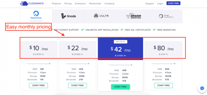 Cloudways monthly pricing