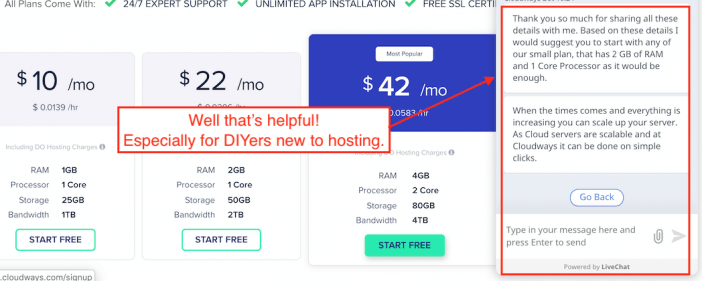 Cloudways Pricing Suggestions