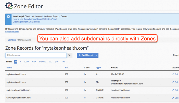 Adding Subdomain