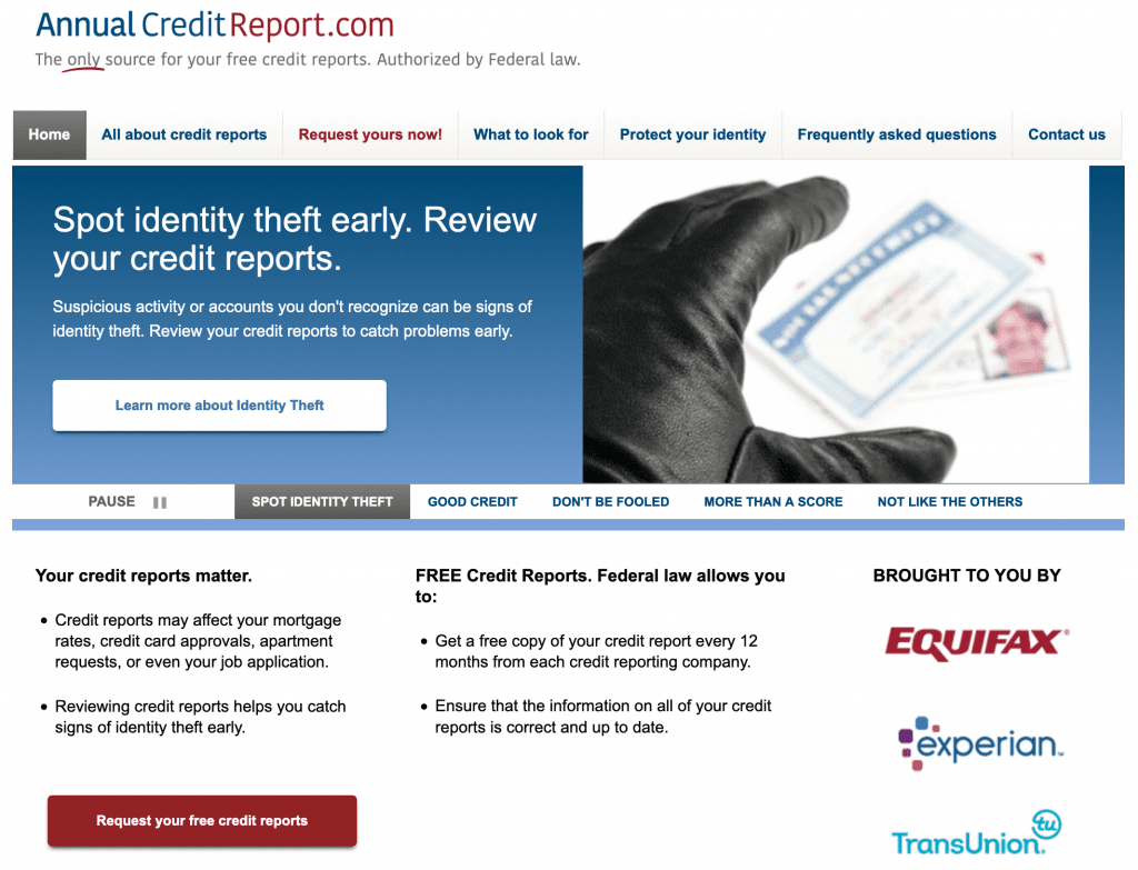 Homepage of AnnualCreditReport.com.