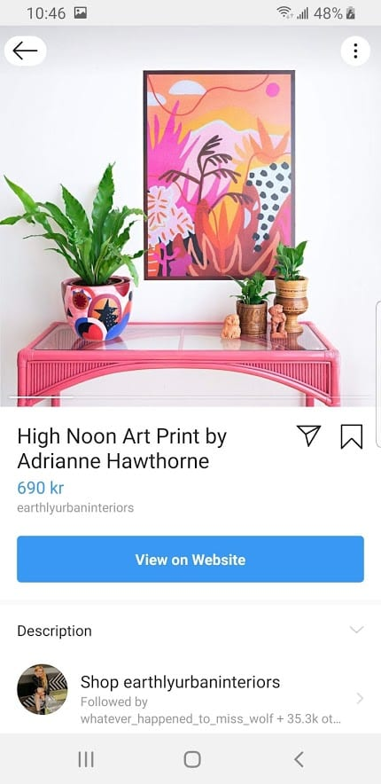 Shoppable Instagram post