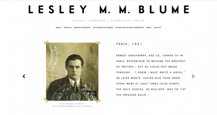 lesley m.m. blume author website example