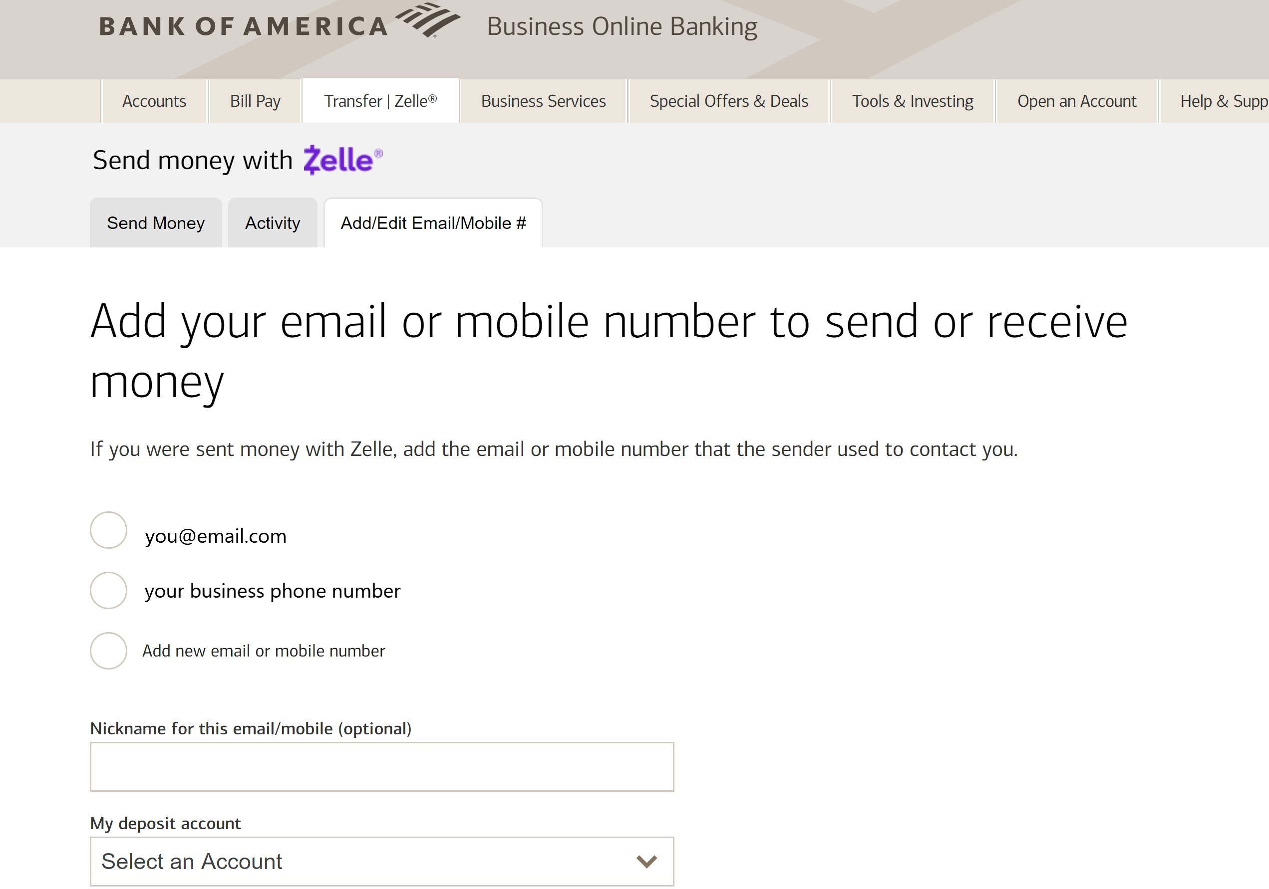 Sample Bank of America Zelle Signup Page