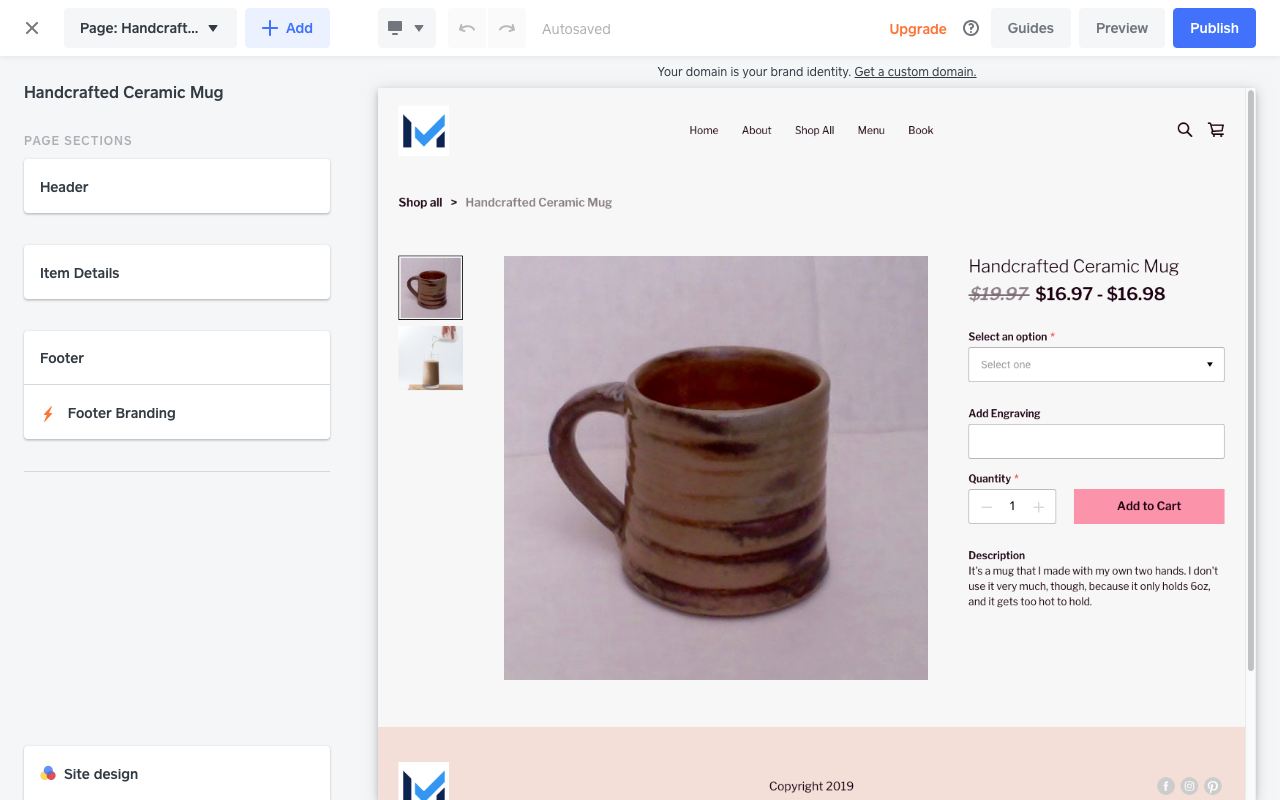 An example product page in Square Online Store