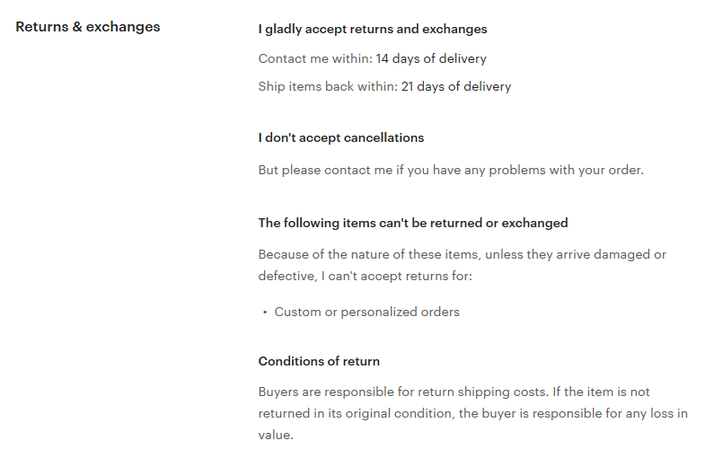 Screengrab of Etsy's MinimaMaximaShop shows how to create a return policy that inspires confident shopping