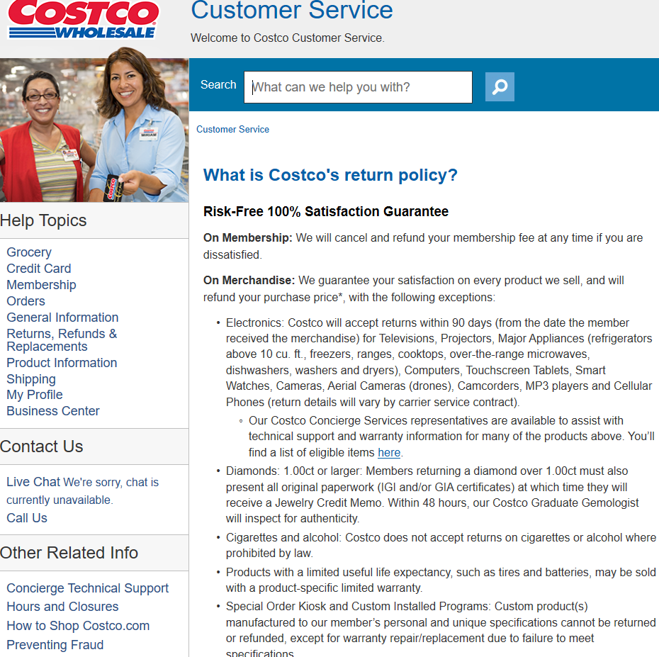 Screengrab of Costco.com offers a good example of the level of detail needed when you consider how to create a return policy