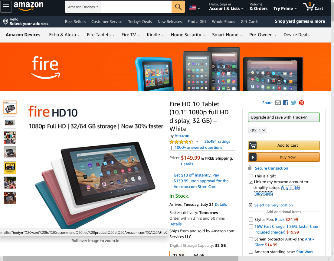 Screengrab of Amazon landing page shows how to make your return policy visible on your site