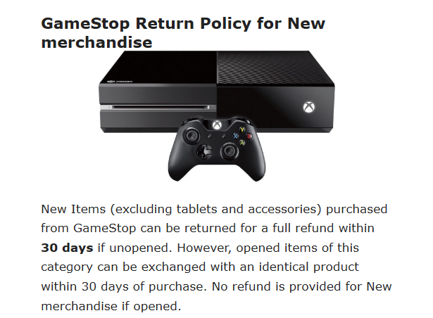 GameStop screengrab offers details that can show you how to start to create a return policy