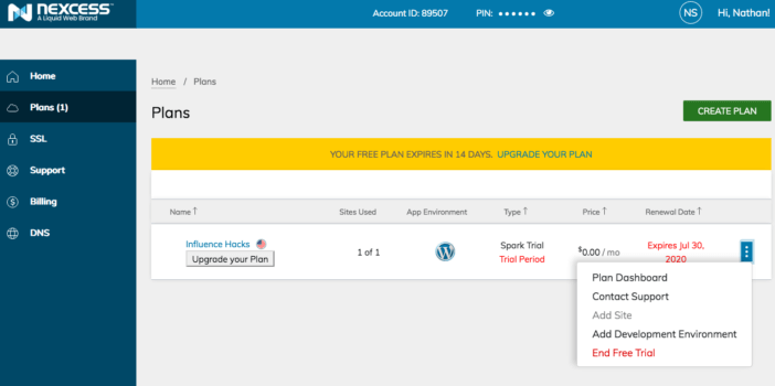 LiquidWeb Managed WordPress Hosting Backend