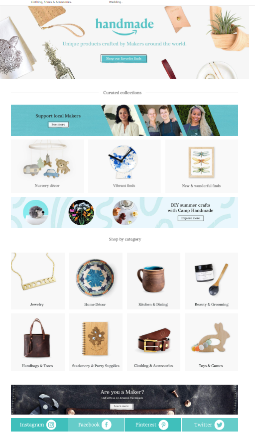 Screengrab of Amazon Handmade landing page
