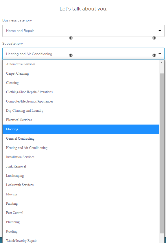 Screengrab showing Square Online business subcategories