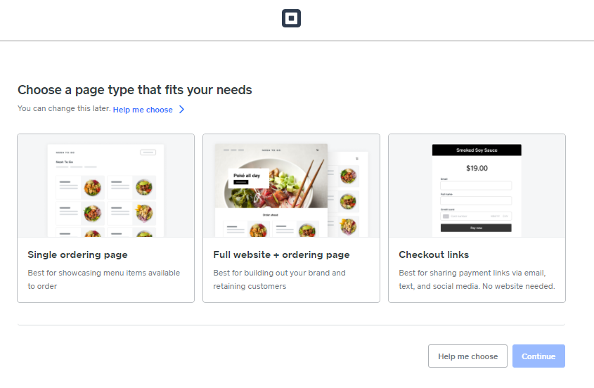 Screengrab of Square Online page choices
