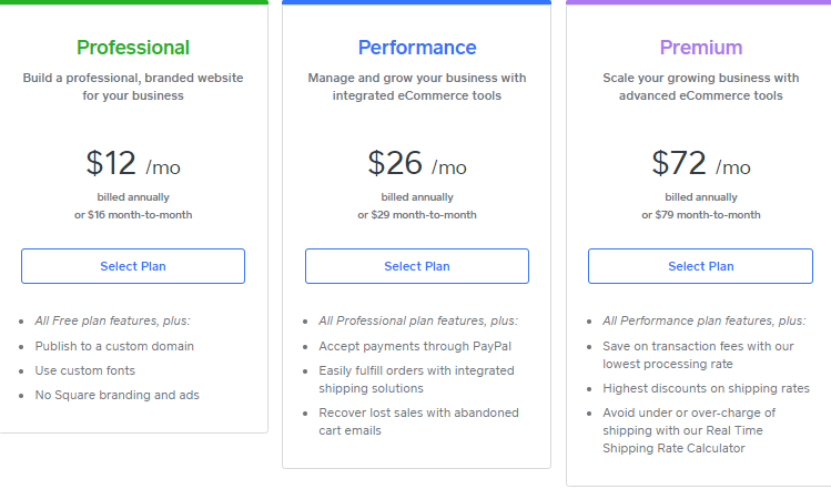 Screengrab showing Square Online paid plans
