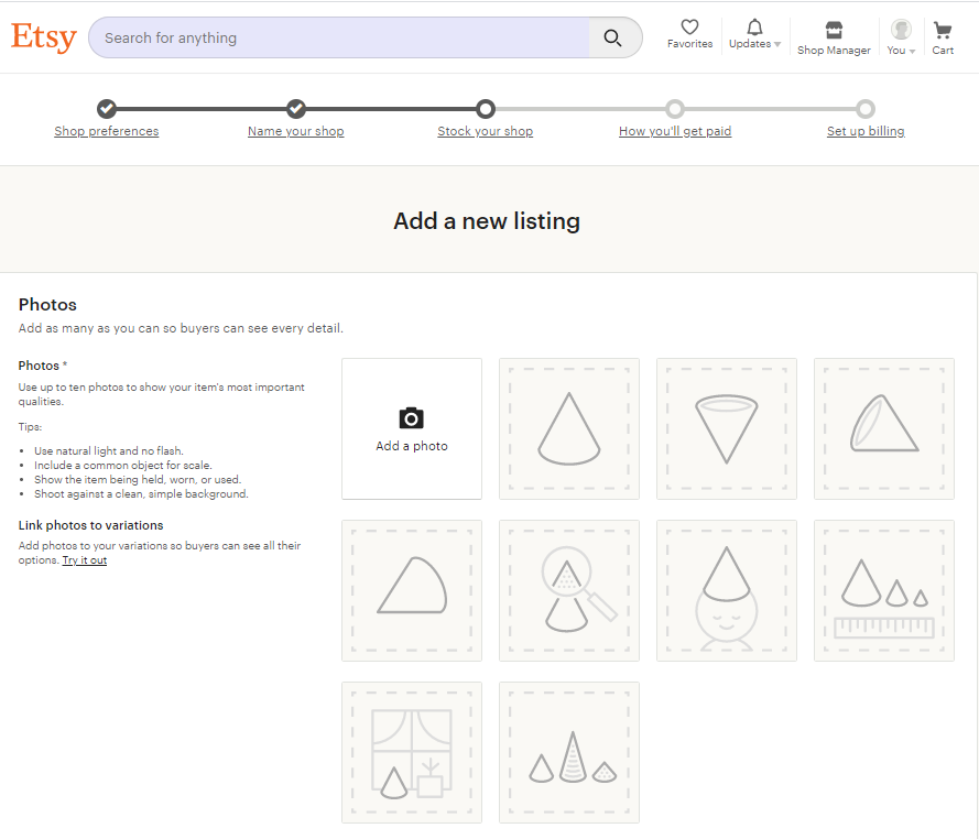 Screengrab of Etsy product upload page