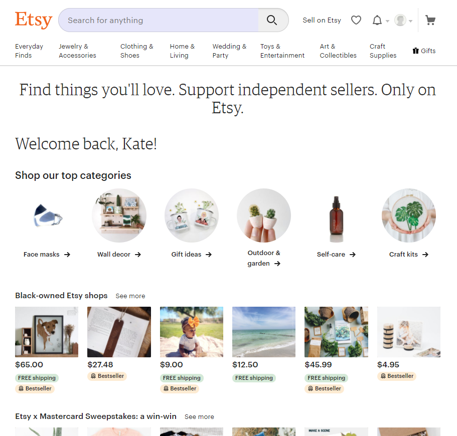 Screengrab of Etsy home page
