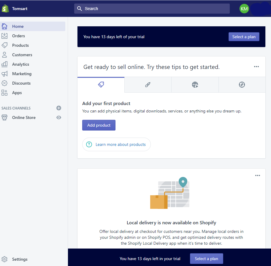 Screengrab of Shopify admin