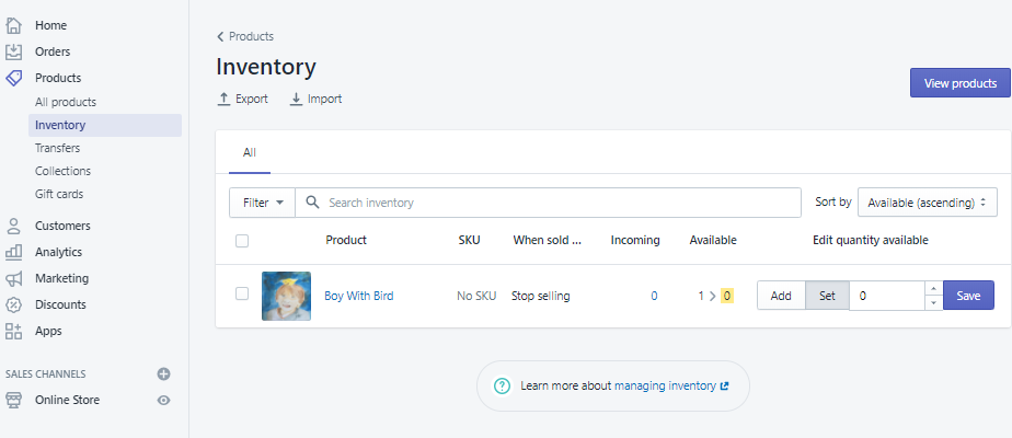 Screengrab of Shopify inventory page