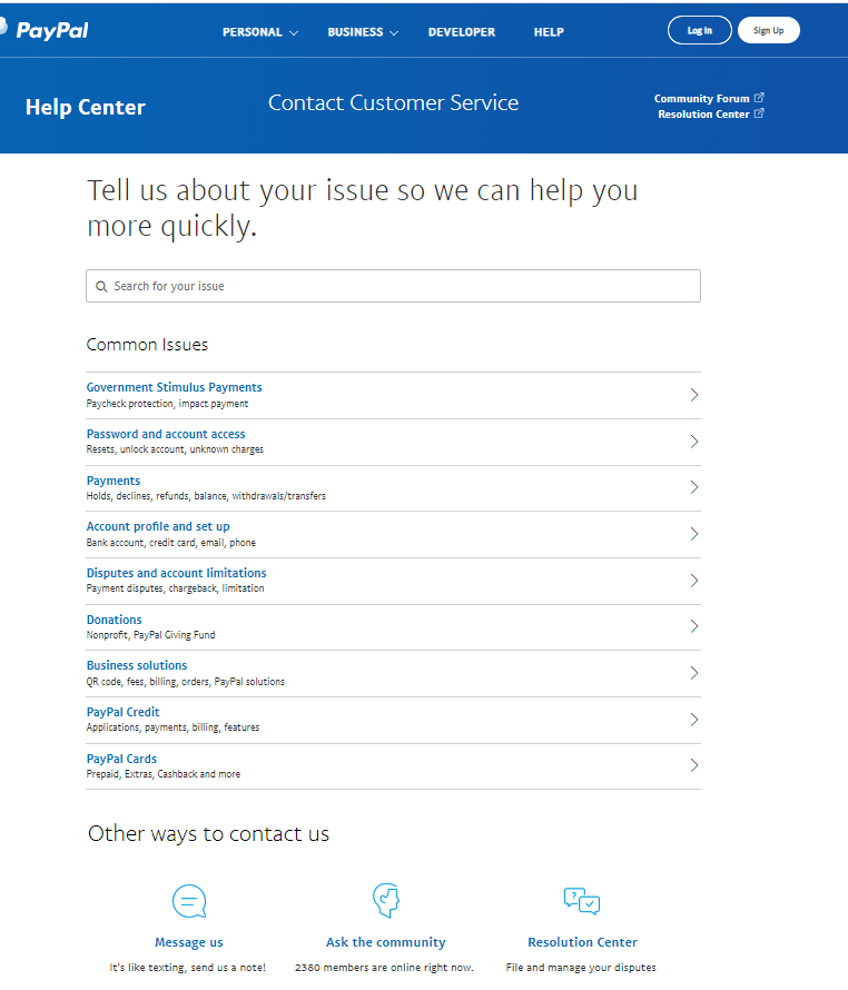 Screengrab of PayPal contact page