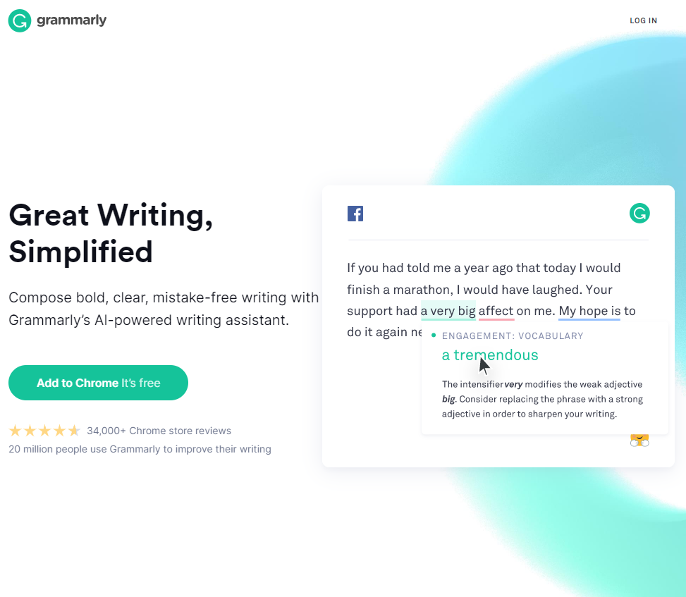 Screengrab of Grammerly landing page