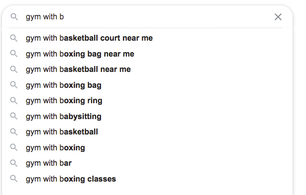 Google Suggest - Amenities for Gyms