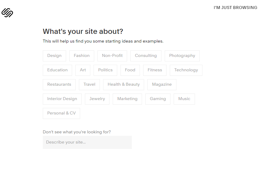 Screengrab showing how to use Squarespace setup to build a Squarespace website