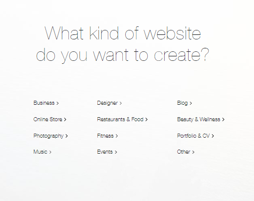 Screengrab showing options for business categories showing how to build a Wix website