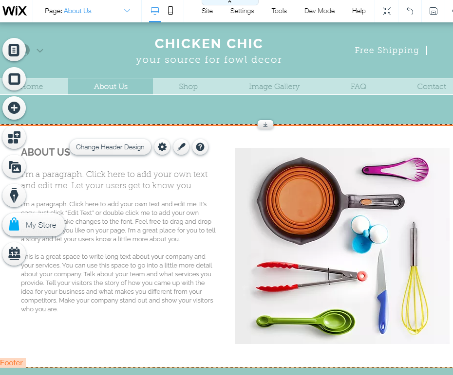 Screengrab showing how to default text appears and how to edit it to create your Wix webpage