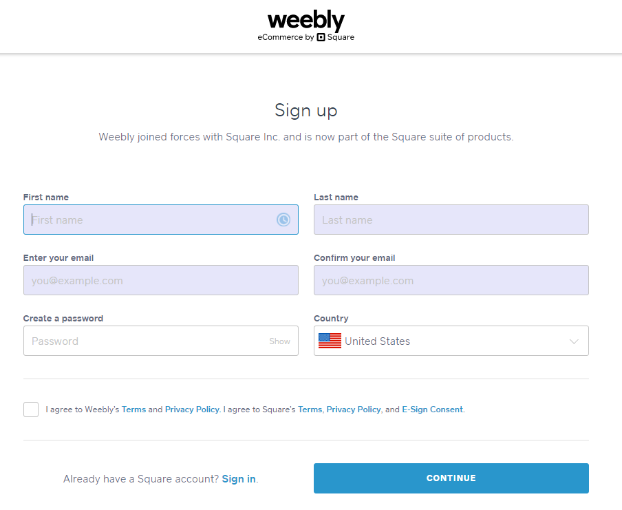 Screengrab of signup page for creating a Weebly website