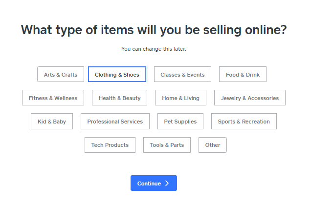 Screengrab showing how to choose a sales category when building a Weebly online store