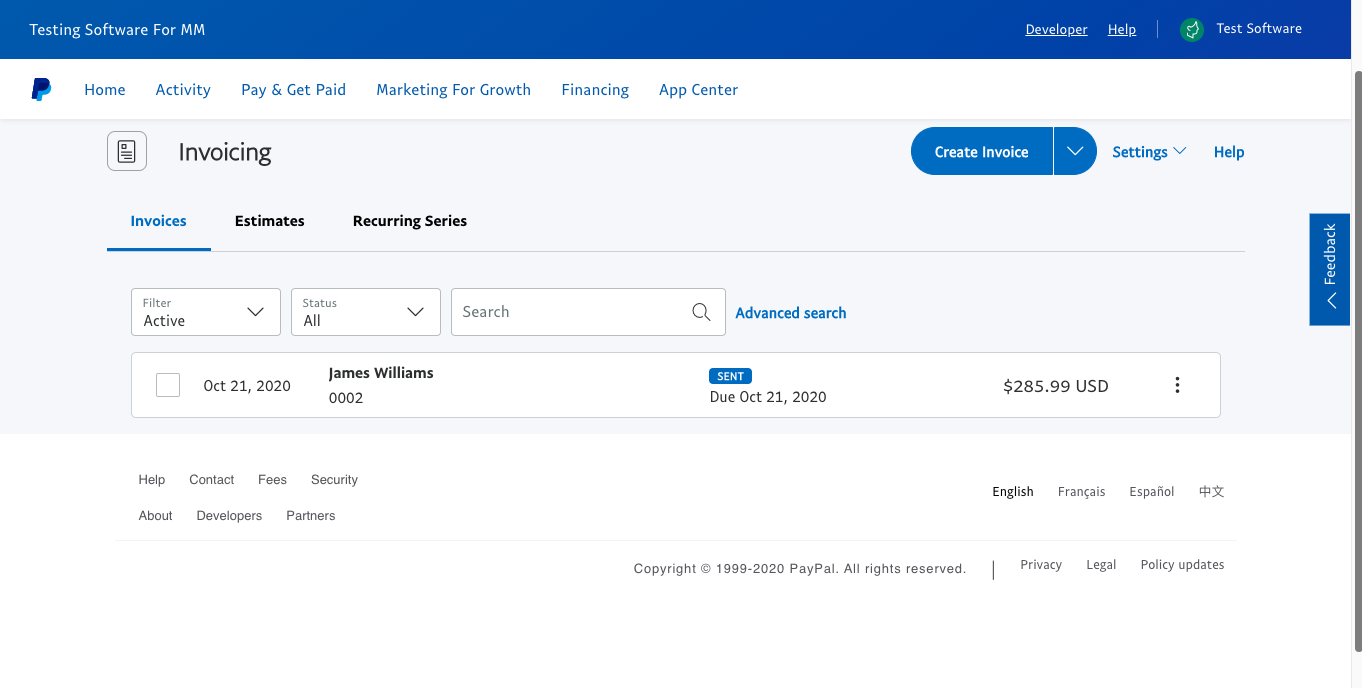 how to send invoices with paypal