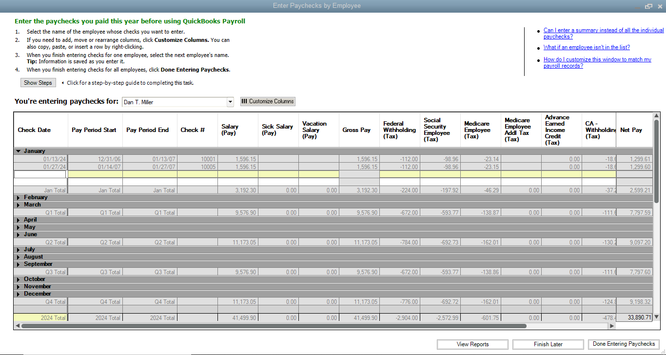 how to do payroll in quickbooks